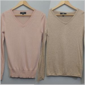 Mossimo Small 2 LOT Pink Cream V-neck Sweaters